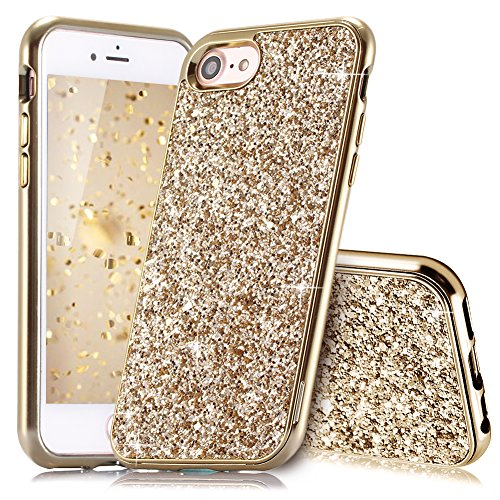 Coque iPhone 8 Or Coque iPhone 7/8 Slynmax Silicone Paillette Strass Brillante Bling Bling Glitter de Luxe Bumper Housse Etui de Protection [Ultra Fin] [Anti Choc] pour Apple iPhone 7/8 Série Glamour