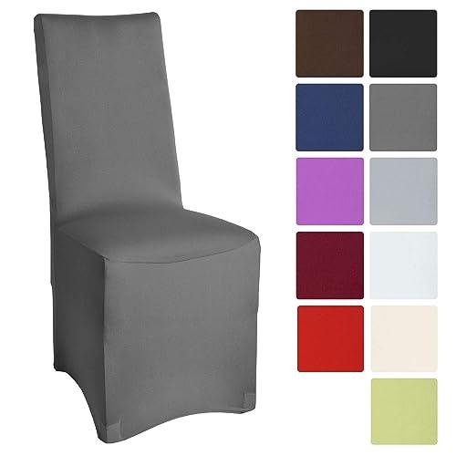 Beautissu Housse Stretch Leona pour Chaise de Banquet - 45x90cm - Elegante, Moderne - Bi-Elastique - Oeko-TEX - Gris