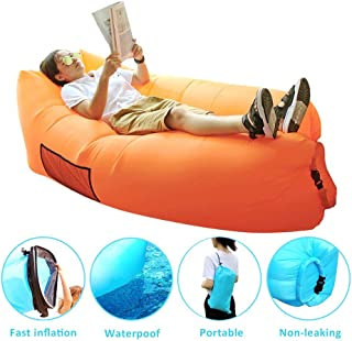 SIEMOO Inflatable Sofa Outdoor Portable Water Proof& Anti-Air Leaking Lounger Air Sofa Hammock Chair for Pool, Beach, Parties Travelling, Camping, Hiking, Picnics