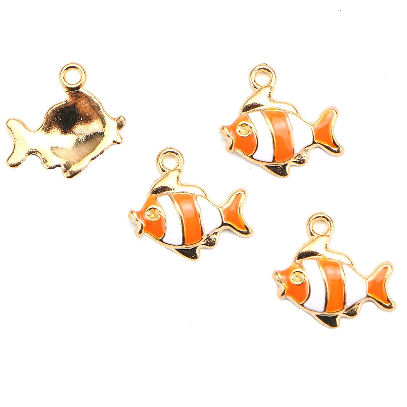 Monrocco 20 Pcs Enamel Fish Charms Sea Fish Tropical Fish Charms Pendant for Crafting Bracelets Jewelry Making