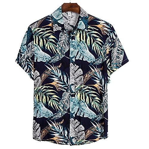 Shirt Ocio Hombre Estampado Personalidad Transpirable Verano Hombre T-Shirt Tapeta con Botones Manga Corta Hombre Shirt Tendencia Clásica Vacaciones En Hawaii Hombre Shirt Playa CS150 M