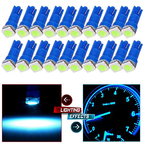 cciyu 20 Pack Ice Blue T5 58 70 73 74 5050SMD LED Wedge Lamp Bulb Light Dashboard Gauge Replacement fit for Honda Dodge Dodge Acura Subaru Pontiac Jeep