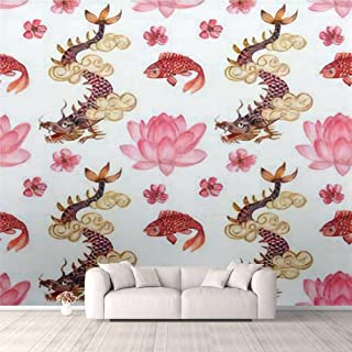 Modern 3D PVC Design Removable Wallpaper for Bedroom Living Room Watercolor seamless pattern with traditional asian themat...