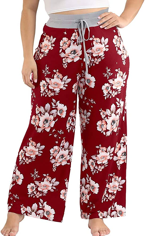 ALLEGRACE Plus Size Pajama Pants for Women Casual Drawstring Palazzo Sleep Lounge Pants Loose Fit