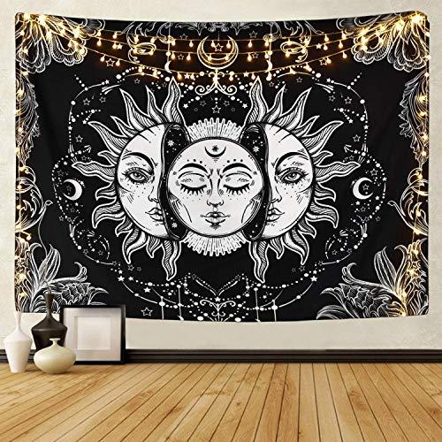 HZAMING Tarot-Tapisserie Sonne und Mond, psychedelischer Tapisserie, schwarz, himmlisch, Wandbehang, indisches Mandala, Bohemian, Hippie, Strandtuch, Tarot-Tapisserie, 150 cm x 130 cm