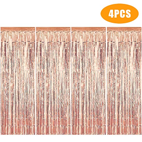 Metallic Tinsel Curtains/Foil Streamers/Backdrop Fringe Curtains for Birthday Wedding Party,DIY Photo Booth Decorations, Door Window Backdrop Background Photo Props (Rose Gold)