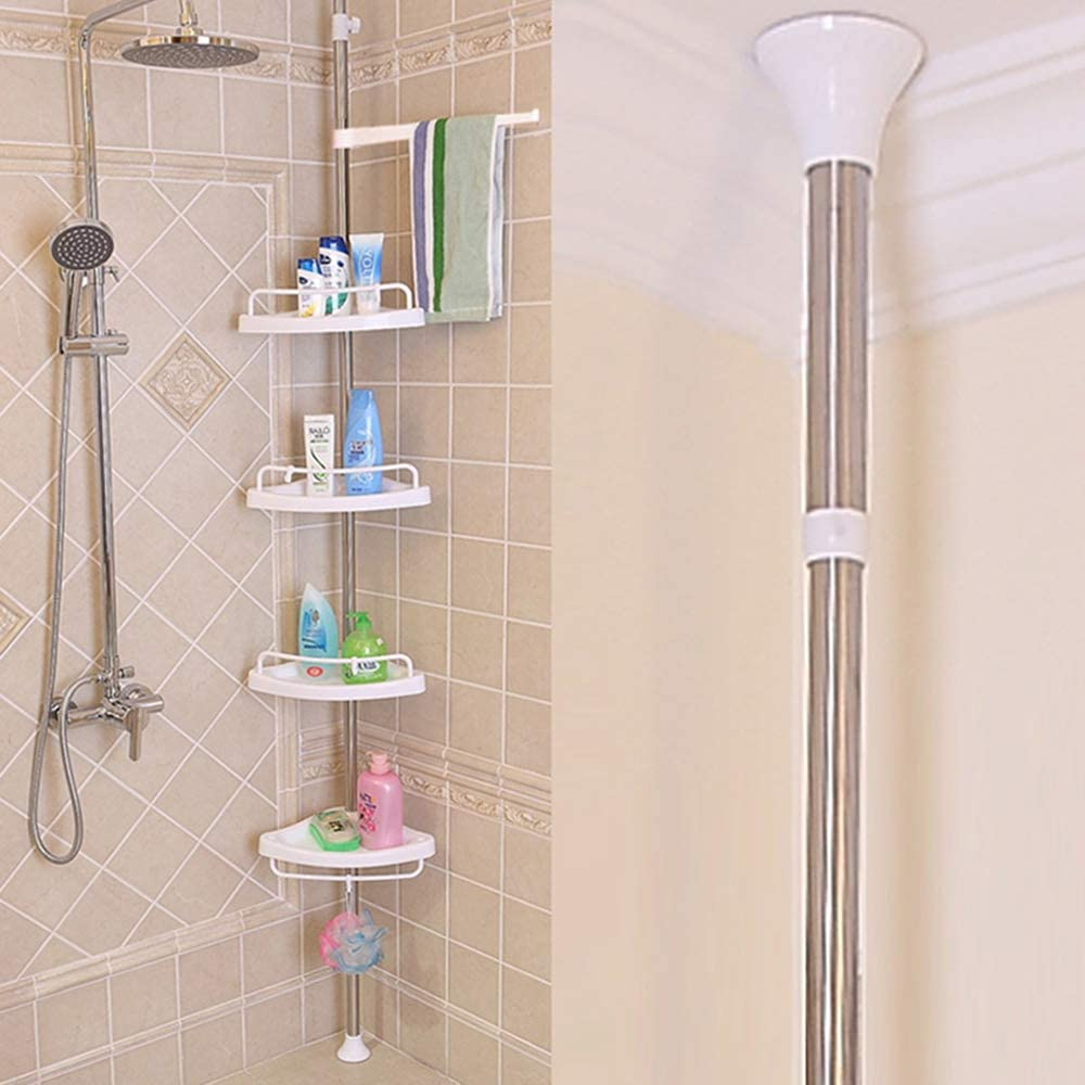 Hynawin Tension Corner Shower Caddy Adjustable 4 Tier Shower Caddies Stainless Steel Rod No Tools And Wrench Height Among 41in 122in Home Kitchen