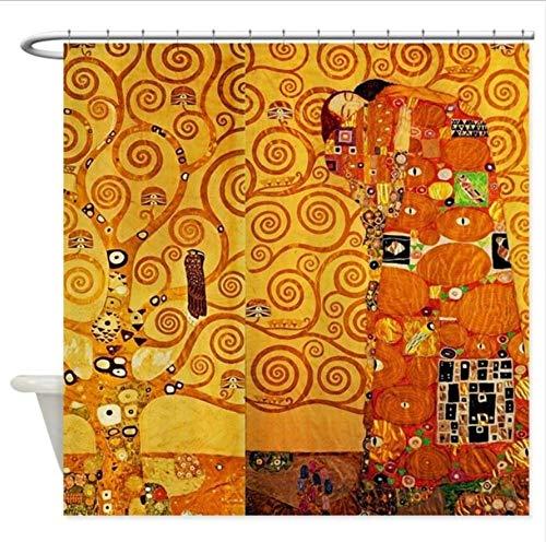 TYKCRt Duschvorhang Gustav Klimt Baum des Lebens Jugendstil Duschvorhang - dekorativer Stoff...
