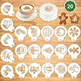 Qpout 20Pack Christmas Cake Stencil Templates Decoration, Reusable Christmas Cake Cookies Baking Painting Mold Tools, Dessert, Coffee Decorating Molds