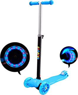 comprar comparacion IMMEK Patinete de 3 Ruedas Scooter con Led Luces Manillar Altura Ajustable 71cm-83cm, Niños Adjustable Handles & Lightweig...