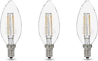 AmazonBasics 60W Equivalent, Clear, Soft White, Dimmable, 15,000 Hour Lifetime, B11 (E12 Candelabra Base) LED Light Bulb   3-Pack