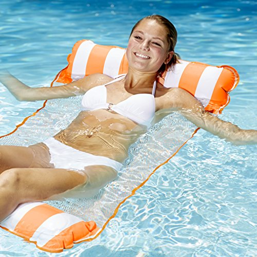 Check Out This AQUA 4-in-1 Monterey Hammock Inflatable Pool Float, Multi-Purpose Pool Hammock (Saddle, Lounge Chair, Hammock, Drifter) Pool Chair, Portable Water Hammock, Orange/White Stripe