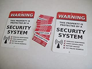 2 Home Security Alarm System Yard Signs & 12 Window Stickers - Stock # 704