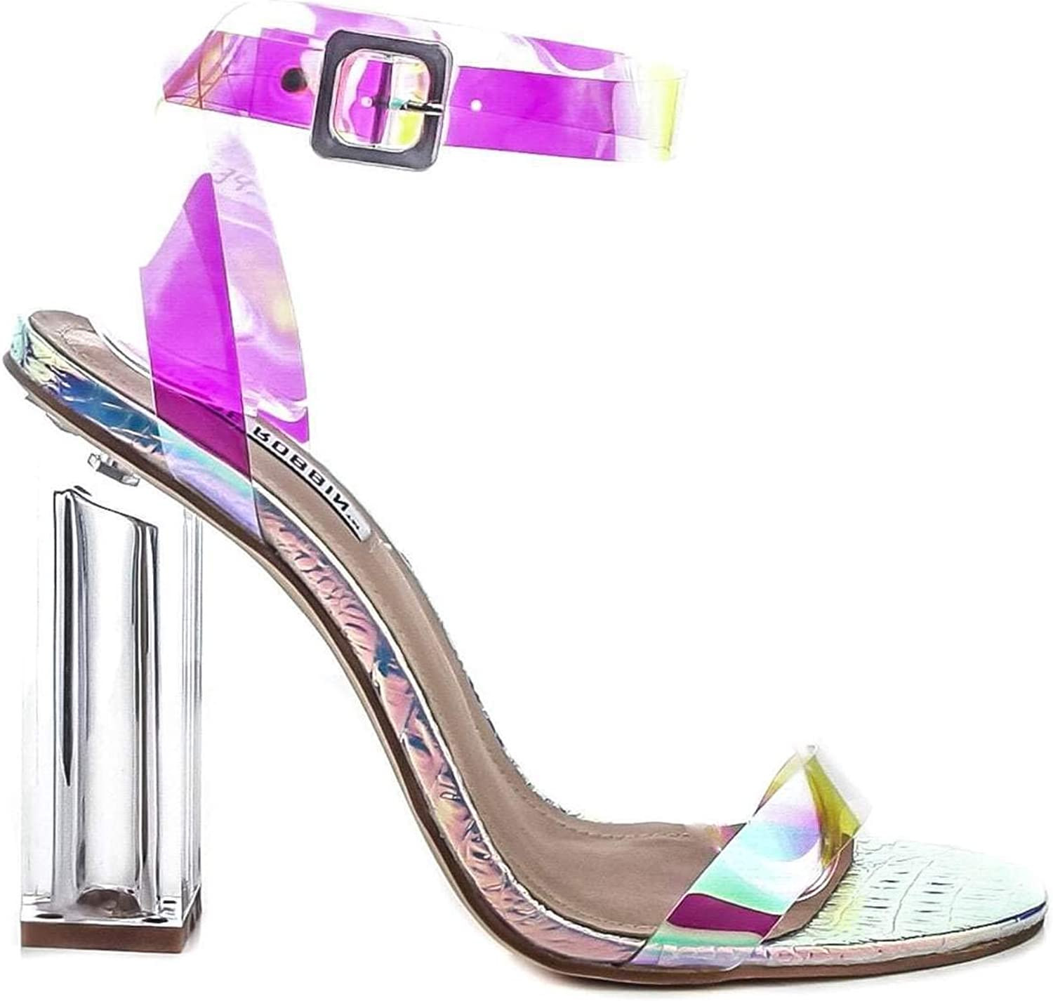 Cape Robbin Mercy Women's Holographic Snake Embossed Clear Square Heel Sandals