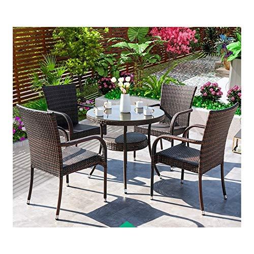 HLZY Conjunto de Muebles de Patio y Silla de Mimbre Rat Muebles de Patio Muebles de jardín al Aire Libre Vidrio Top Top de café Patio Set Mesa de Centro Patio (4 PCS)
