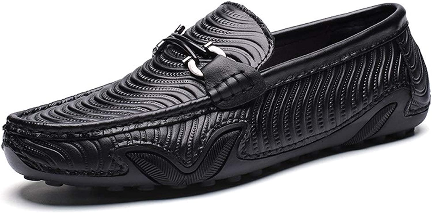 GERUIQI Driving Comfortable Loafer for Men Boat Moccasins Slip On Style OX Leather Personality Octopus Texture Metaldecor