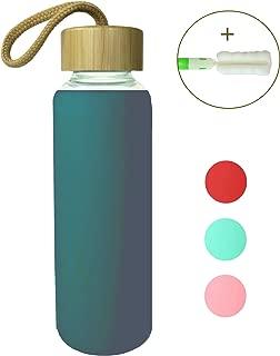 Wenburg Cantimplora Botella de Cristal con Tapa de bambú