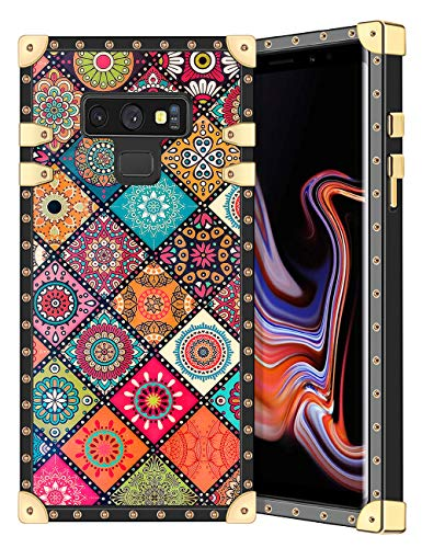 Coolden for Galaxy Note 9 Case Square Glitter Edges Stylish Luxury Totem Pattern for Women Girls Protective Corner Soft Slim TPU Shell Cover for Samsung Galaxy Note 9 Retro Mandala