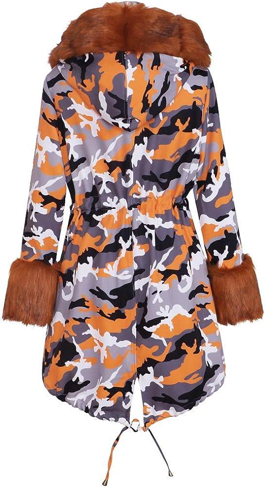 IceyZoey Damen Winter Mäntel Warm Linning Plush Kunstpelz Hoodies Thicken Mäntel Lady Lässiges Parka Jacken Draußen OverMäntel Orange#7