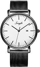 SONGDU Men's Ultra-Thin Quartz Analog Date Wrist Watch with Black Leather Strap