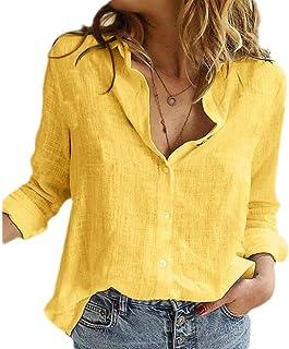 أبيكوك المرأة بلايز عارضة زر أعلى كم طويل سادة قمصان بلوزة