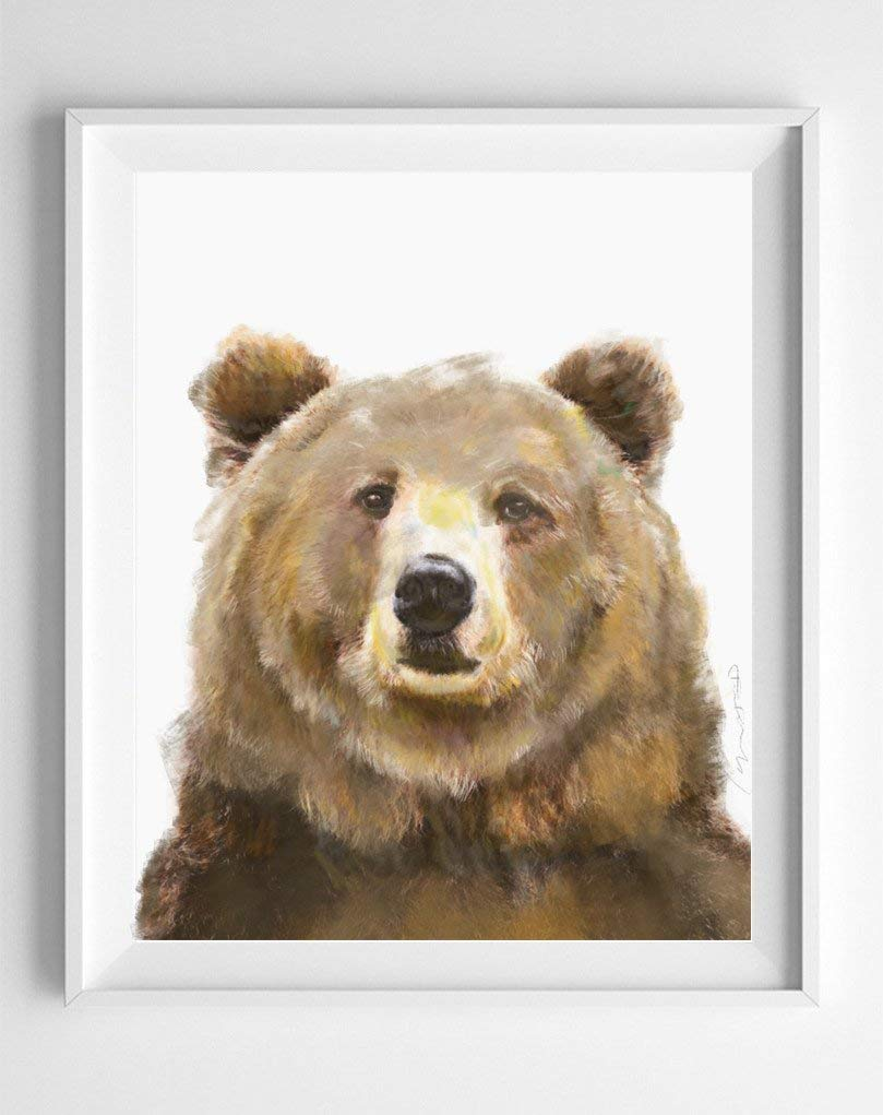 Bear Watercolor In stock Painting - Art Decor Woodland Baby Room Outlet ☆ Free Shipping