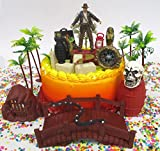 Indiana Jones Birthday Cake Topper Set Featuring Indiana Jones and Themed Decorative Pieces