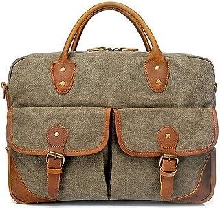 Canvas Bag Men's Briefcase Handbag Retro Casual Shoulder Bag 41 * 11 * H30CM Reasonable Layout Dynamic (Color : Green)
