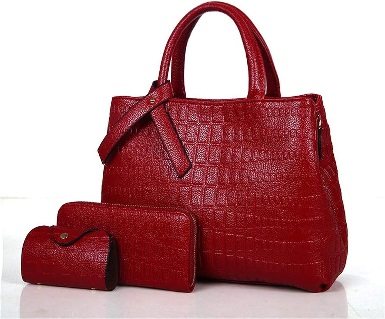 NZZNB Women's Fashion Crocodile Pattern Large-Capacity Handbag Elegant Classic Shoulder Bag Solid color Charming Satchel Tote Purse 3Pcs Top-Handle Handbags
