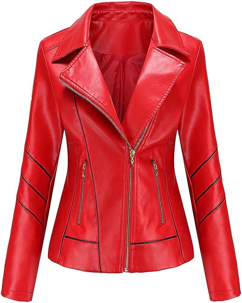 Spring Winter Female Black Pu Leather Loose Turn-down Collar Zipper Women's