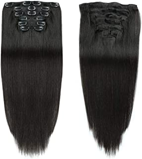 "Black Color Double Weft Clip in Human Hair Extensions Full Head 14""-20"" Grade 8A Quality 7pcs 16clips Long Soft Silky Straight 100% Remy Human Hair Clip"