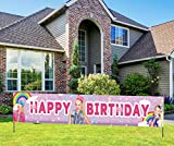 (9.8 X 1.6 feet) JoJo Themed Siwa Birthday Banner, JoJo Themed Party Sign, JoJo Rainbow Birthday Party Decoration Supplies for Kids