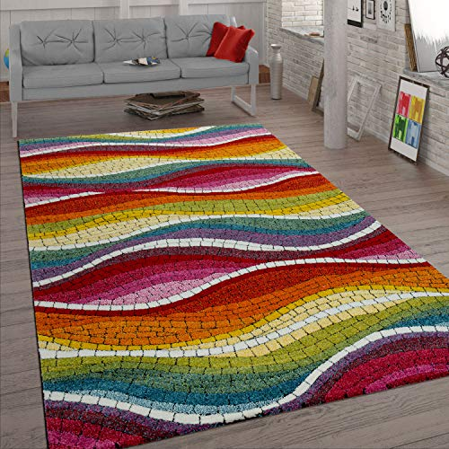 Paco Home Retro Teppich Bunt Rot Grün Blau Wohnzimmer Mosaik Muster 3-D Design Kurzflor, Grösse:160x220 cm