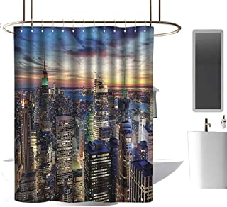 Brandosn Shower Curtains New York,Skyline of NYC with Urban Skyscrapers at Sunset Dawn Streets USA Architecture,Orange Blue Punch-Free Curtain W55 xH84 inch