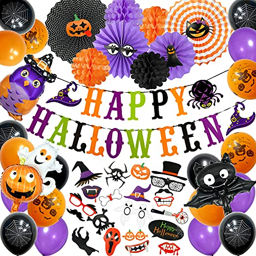 Mauts 56pcs Halloween Party Decorations Kit,Halloween Photo Booth Props large size Ghost foil balloon hanging swirl and happy Halloween pumpkin banner grimace balloons