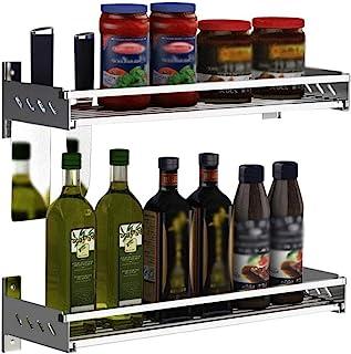 WZHZJ Étagère Murale pour Cuisine Fer étagères de Rangement murales Organisateur bocaux à épices Support Support à épices