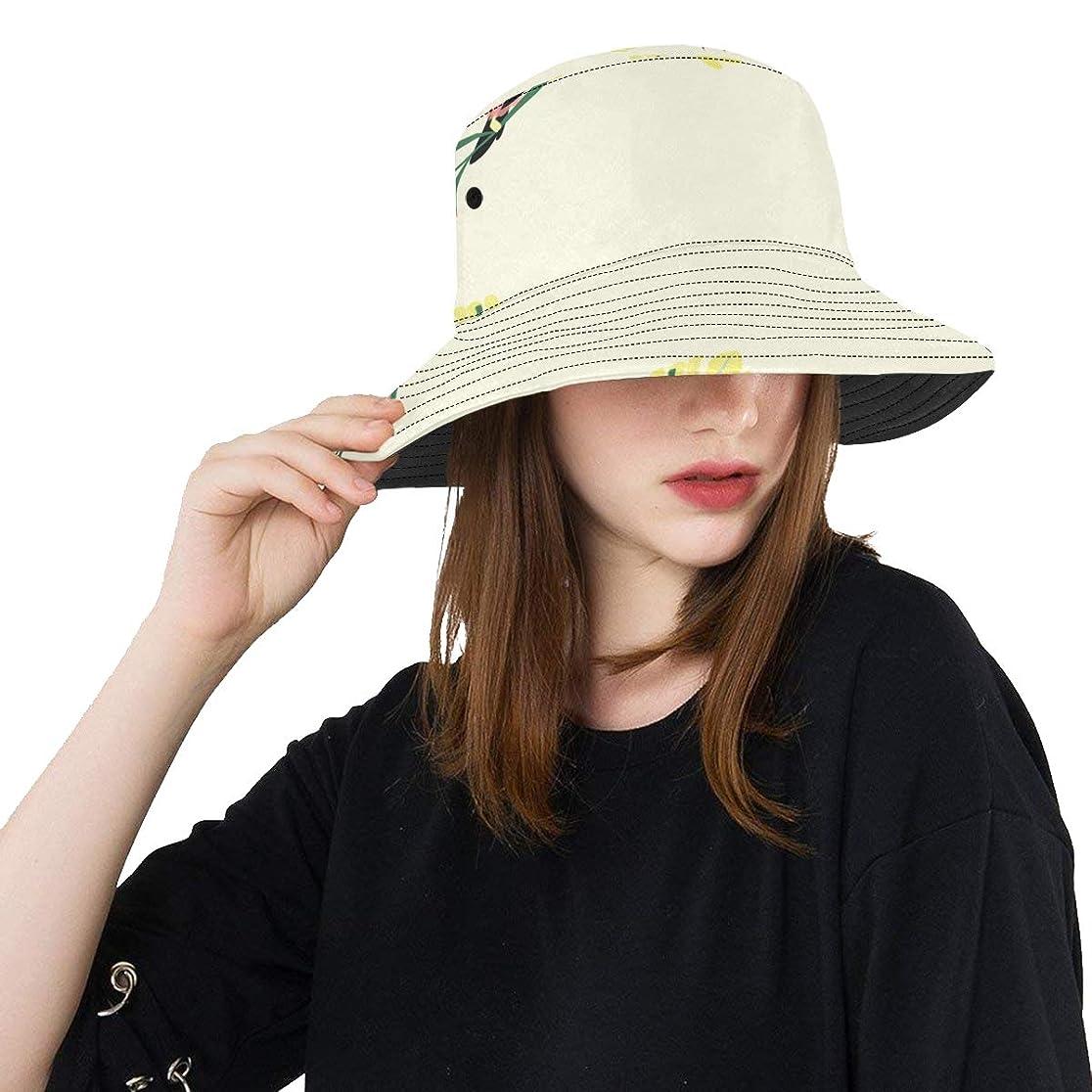ローマ人最少まだらJKDLER Uvカット帽子 かわいいオウムや木の葉 バケットハット サンバイザー 日よけ 日焼け止め レディース 女子 綿 つば広 おしゃれ 折りたたみ 春夏 ストローハット アウトドア 旅行 トラベル 紫外線対策 遮光 吸汗速乾 小顔効果抜群