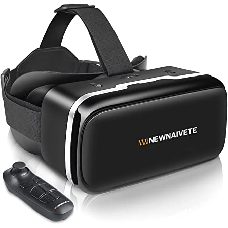 VR Headset with Remote Controller, 3D Glasses Goggles Virtual Reality Headset Compatible with iPhone & Android Phone, Eye Protected Soft & Comfortable VR Headsets for Phones 4.7-6.53