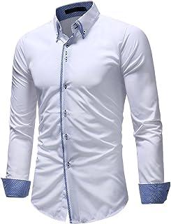 Coofandy Camicia Uomo Manica Corta Casual Moda Slim Fit Stripe Girare Gi/ù Il Collare Patchwork