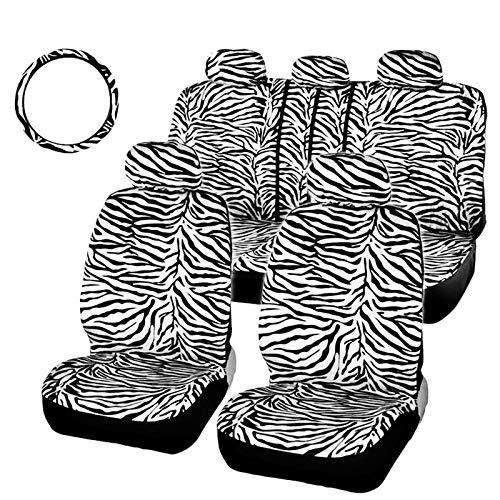 Monland Coprisedili Zebra Bianchi nel Peluche Corti per Auto Set Universale Misura la Maggior Parte dei Sedili per Auto Coprivolante Coprisedili per Auto