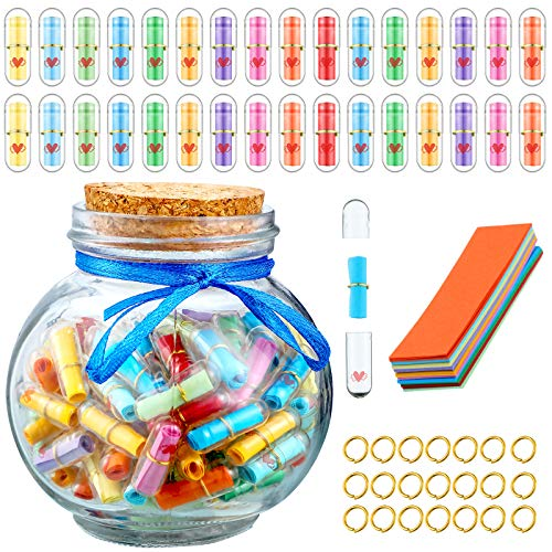 110 Pieces Cute Capsule Message Love Friendship Letter Plastic Capsule Message Letter in Wishing...