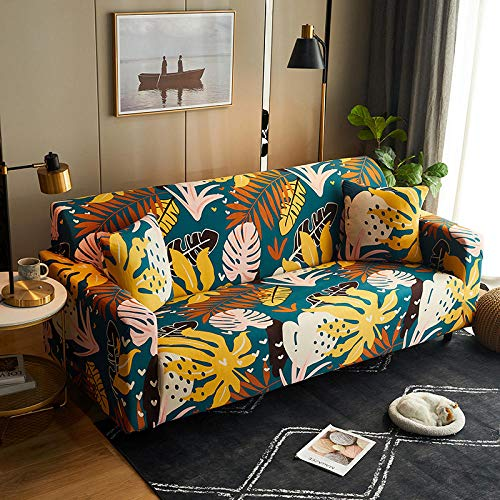Funda Sofa 4 Plazas Chaise Longue Hoja Fundas para Sofa con Diseño Elegante Universal,Cubre Sofa Ajustables,Fundas Sofa Elasticas,Funda de Sofa Chaise Longue,Protector Cubierta para Sofá