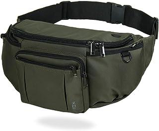 NZII Outdoor Travel Sports Fanny Pack Men Women, Hiking Running 6-Zipper Pockets Waist Pack, Super Capacity Water-Resistant Bum Bag Adjustable Belt