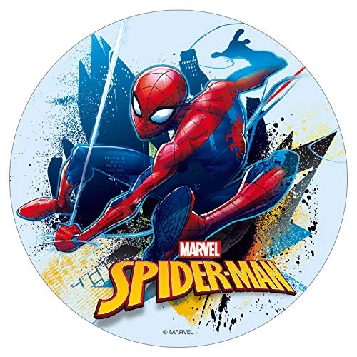 Dekora - Disco Comestible para Tarta Infantil de Spiderman de 16 cm de Diametro