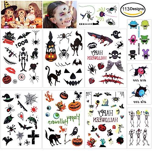 HOWAF Tatuajes Temporales para Niños Niñas, Halloween Vampiro Calabaza Falso Tatuajes Pegatinas para niños piñata Regalo Infantiles Fiesta de Halloween Disfraz Maquillaje Props y Cosplay (10 H