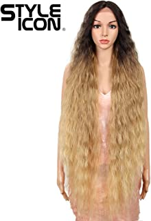 """Style Icon 41"""" Lace Front Wigs Long Wavy Synthetic Wigs with Baby Hair Half Hand Tied 130% Density Wigs (41"""