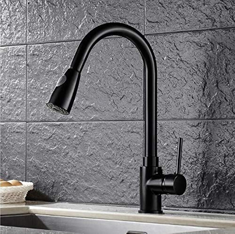 Oudan Küchenarmaturen Silber Einhand-ausziehbarer Küchenarmatur Einloch-Griff 360 Drehen Kran Chrom Swivel Waschtisch-Mischbatterie (Farbe   A, Gre   -)