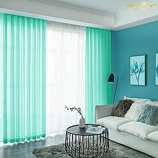 ShinyBeauty Window Curtains for Living Room 29''x108'' Mint Tulle Wedding Backdrop 2.4ftx9ft Chiffon Backdrop Curtain-191010J (29''x108'', Mint)