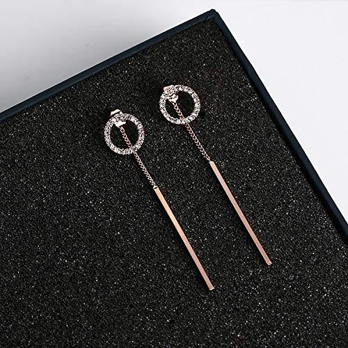 weichuang Sweety - Pendientes colgantes con diamantes de imitación brillantes, diseño de tira de metal, doble uso, color plateado