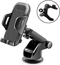 Veroyi Car Phone Mount, 3-in-1 Extendable Dashboard Windshield Car Air Vent Cell Phone Holder, One-Button Release Design, Compatible with 4-6.5 Inches Mobile Phone Devices